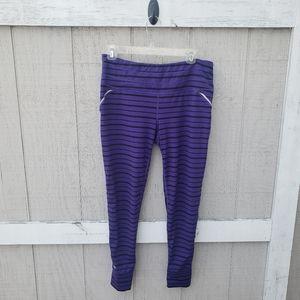 Athleta Relay Reflective Striped Mesh Legging Pant